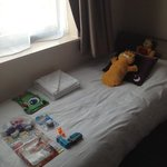 Nicely laid out bed for our son when we came back