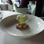 The unbelievable desert with apple flavored globe and apple flavored sorbet stump