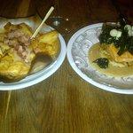 """Patats bravas/Jambon and Salmon """"Peking style"""""""
