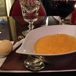 Squash and onion soup with chestnut ice cream