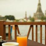 Breakfast on the riverside deck