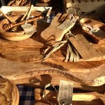 Beautiful olive wood boards, bowls and utensils
