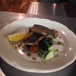 Mackerel a la plancha with apple, beetroot & pine nuts salad