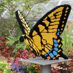 Lots of real butterflies as well as a giant Lego butterfly