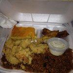 Fried Conch,Rice and peas, plantain, macaroni pie . Yummy!