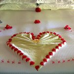 Bed was decorated for our honeymoon