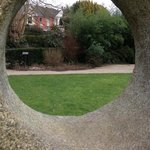 Aspect of the peace garden. A sculpture.
