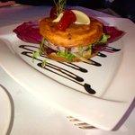 Salade de poulpes sur un blinis moelleux / Romarin / Olives / Bagna Cauda