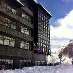 Hotel frontage after a big fall of snow