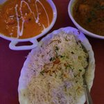 Tikka Masala Chicken and Curry Chicken with Pilau Rice