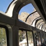 Inside the observation car as we traveled through the Rocky Mountains.