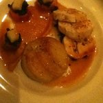 Apricot and pepper filled chicken, dauphinoise potatoes and roasted root vegetables