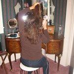 vanity in parlor area of suite