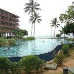 Hotel overlooking pool area