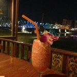 Tasty and pretty fluff drink w a view of the iron bridge.