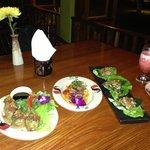 A few small appetizer type dishes (dumplings, ahi tuna, lettuce cups)