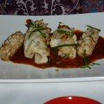 Calamari with Capiscum sauce