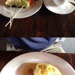Breakfast: fruits, cappuccino, banana pancake