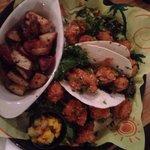 Shrimp Tacos and Potatos with the mango salsa on the side.