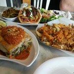 Animal Fries, Moussaka and Kabob Souvlaki Platter