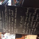 Last night's blackboard menu -fantastic meals!