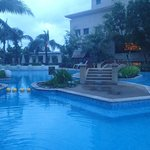 early morning, the swimming pool at the back of the hotel