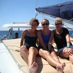 The girls are enjoying the sea