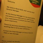 General Manager Contact Info Card in Room Courtyard Marriot February 2014
