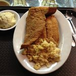 huge portions! catfish, mac and cheese (extra yum!) and potato salad