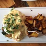 Egg Benedict on crab cake with lobster