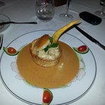 shrimp & scallop in a puff pastry surrounded by lobster bisque