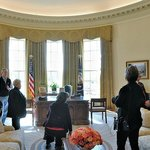 Panoramic view of the replica George W. Bush Oval Office.