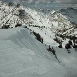 View down off of Cirque Traverse - scary for this snowboarder!