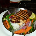 Grilled salmon Vegetables and rice