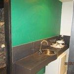 hole in the wall for fridge & tea making facility