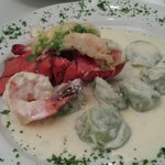 Spinach ravioli and lobster