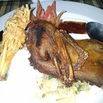 Bebek goreng.. or fried duck was delicious with the rice and Balinese sambal.