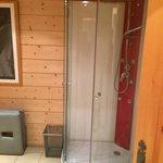 Rainfall shower in sauna room