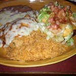 Chile rolleno and chicken chimichanga.