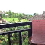 View from balcony with Balinese language