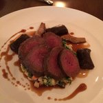 Loin of venison, chocolate gnocchi and creamed cabbage