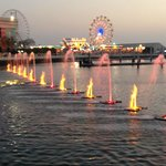 waterfront park with light-fountain show