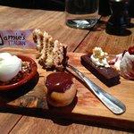 Dessert sampler! Tiramisu, Gelato Apple Tart, Chocolate Profiterole, Fruit Cobbler, Chocolate Br