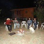 enjoying camp fire