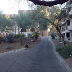 A light stroll from the rooming buildings to the main resort
