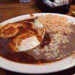 Juevos Rancheros (lunch portion) comes with tortillas