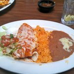 Chicken Burrito (with rice, refried beans and salad)