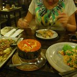 great spread: Eggplant, Fish Amok (MUST TRY!!!!) and Fried Rice