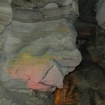 One of many colorful formations in the cave