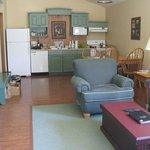 living, dining room, and kitchen